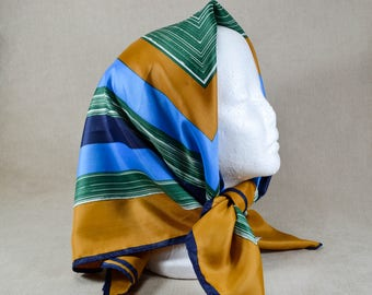 Vintage Geometric Scarf, Blue, Green and Brown 492
