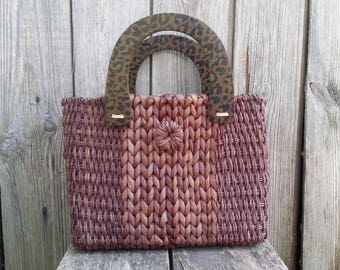 Straw bag, Straw tote, Vintage brown bag, Wicker bag, Women bag, Woven straw bag, Gift for her.