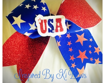 USA 4th of July Patriotic Independence Day Cheer Bow