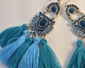 Tassel Earrings / Art Deco Earrings / Vintage Earrings / Boho Jewelry / Dangle Earrings / Bohemian Jewelry / Geometric Earrings