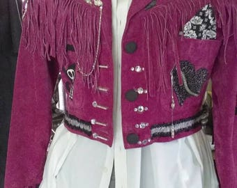 Pink Suede Re-Fashioned Hand-Painted jacket