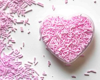 Pastel Pink Crunchy Jimmies™, Crunchy sprinkles, skinny sprinkles, sugar strands, pastel pink sprinkles, Fancy Sprinkles, Edible Sprinkles