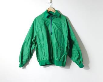 90s Knit Collar Half Zip Windbreaker - Green Windbreaker - 90s Windbreaker - 90s Dadcore Windbreaker - 90s Normcore Windbreaker - Men's XL