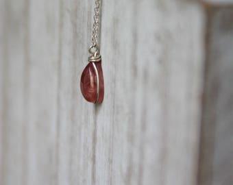 Rhodocrosite, rhodocrosite necklace, silver necklace,birthstone necklace,tear drop pendant gemstone necklace, silver pendant, gift,red Stone