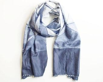 Shibori Silk Scarf - Indigo