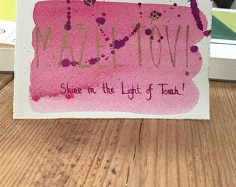 "Mazel tov card for bat mitzvah with text ""Shine in the Light of Torah!"""