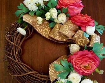 Ranunculus and Rose Wreath