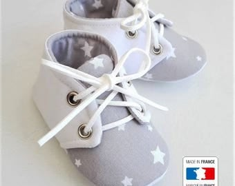 Gray cotton lace-up slippers white