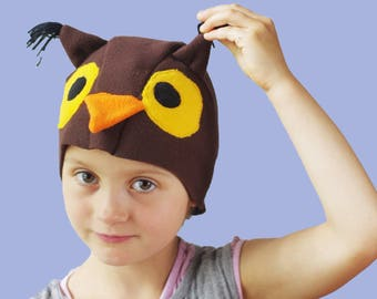Kids costume, Owl costume hat, bird costume hat, kids dress up hat, toddler pretend play, toddler costume, kids Halloween costume
