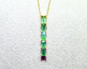 Natural emerald Rectangular Pendant 18K White Gold Pendant Necklace neutral minimalist