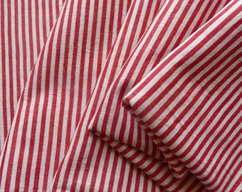 Antique French ticking fabric/red and white stripe ticking/original antique french linen ticking /19thc French textile