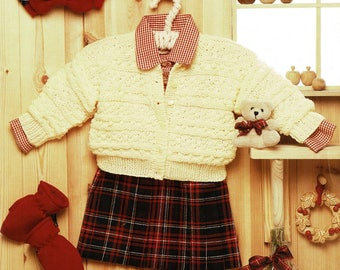 Toddlers All Over Textured Round Neck Cardigan, Vintage knitting Pattern, PDF, Digital Download