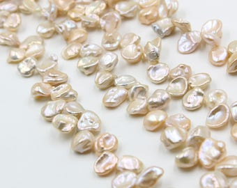 12 - 13 mm gold coin freshwater pearls, gold coin pearl,15'' full strand, coin pearl strands, pearl wholesale