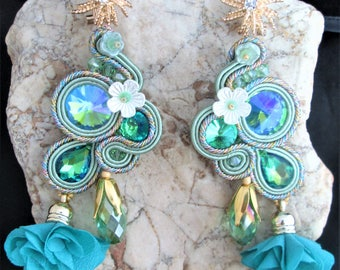 soutache earrings lime green