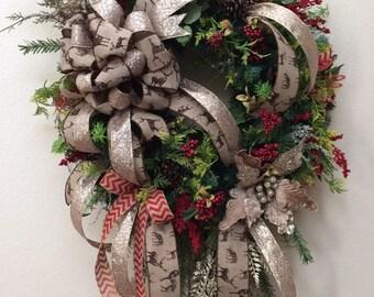Deer Wreath, Champagne Poinsettia Wreath, Luxury Winter wreath, Rustic bling wreath, Rustic glam wreath, Christmas wreath, Luxury wreath