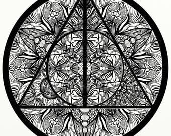 Harry Potter Deathly Hallows inspired Adult Coloring Mandala, Printable Coloring Page
