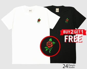 Red Rose Embroidered T-Shirt by 24PlanetsStudio