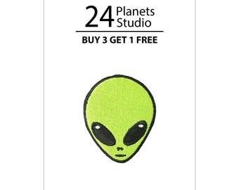 Mini Alien Head Iron on Patch by 24PlanetsStudio