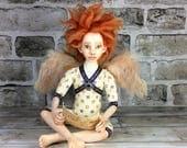Angel With a Letter Art Doll OOAK Collectible Art Doll Handmade Doll Interior Doll Boudoir Decor