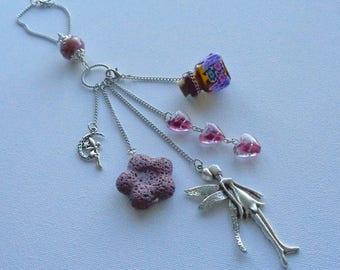 Diffuser Rearview Mirror Charm / Car Charm / Car Ornament / Essential Oil Diffuser / Purple Lava Stone