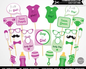 Gender Reveal, Purple and Green Gender Reveal, Party Props, Party Photo Booth Props, Baby Shower Gender Reveal Party