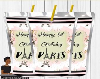 Paris Birthday Juice Label, Paris Baby Shower, Capri Sun Label,  Paris Decor, Paris Favor,  Sweet 16, Digital or Printed and Shipped