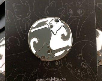 Black & White Yin Yang Cats 25mm Enamel Pin Badge
