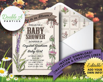 Vintage Flower Garden Baby Shower Invitation - Girl Baby Shower Invite, Floral Baby Shower Invitation, Self-Editable Invitation