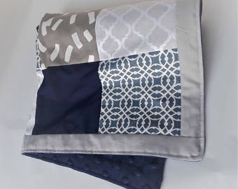 Baby Blanket, Modern Blanket, Gray and Blue Baby Blanket, Minky Security Blanket, Lovey, Baby Boy Blanket, Quartefoil Moroccan Patchwork