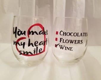 15 oz Stemless valentines wine glass
