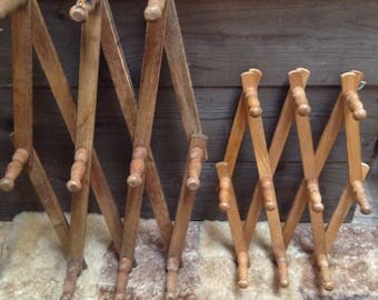 Vintage Accordian Peg Rack. Large and Small Peg Rack.