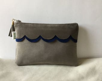 Bright blue and gray lambskin leather clutch/makeup case