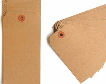 "Large Recycled Natural Brown Kraft Shipping Tags With Reinforced Hang Tags - 2 3/8"" X 4 3/4"" - Qty = 50"