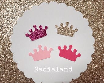 80 crowns in cardboard/confetti for parties/Glitter/scrapbooking Accessories/party decorations/gold/pink/Princess/Queen/crown