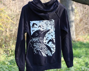 handprinted light hoody raven crow occult backprint