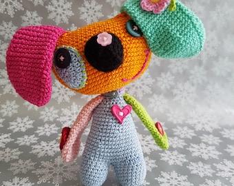 Handmade crochet rainbow dog