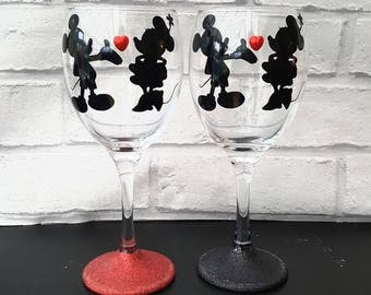 TWO Mickey and Minnie glitter wine glasses