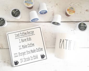 Iced Coffee Recipe Sign