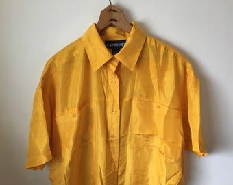 Marigold Silk Womens Blouse Large