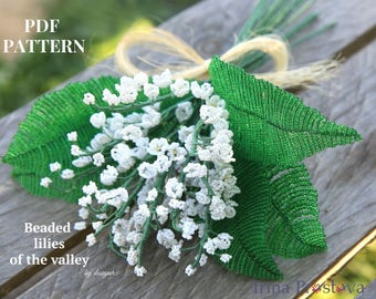 French beaded flower, Beaded flowers, Seed bead tutorials, Lilies of the valley,Flower bead tutorial,Beaded flowers pdf,French bead tutorial