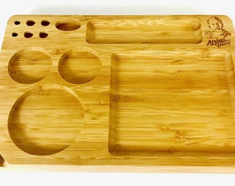 Handmade, Custom (SMALL) AFG Designed Bamboo Tobacco Rolling Tray - 4 serving, holding shots, jewelry & more!