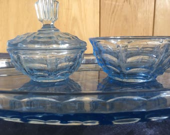 English 1930's art deco style blue glass dressing table set,