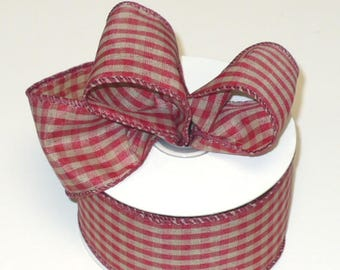 "10 yards tea dye country checker wired ribbon, country cranberry tone check wired ribbon 2"" wide"