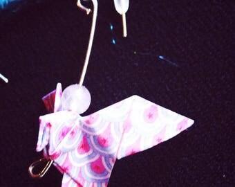 Japanese origami Dove earrings