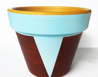 Blue, Yellow and Bordeaux Handmade Plant Pot. Terracotta plant pot. Cool, unique and exclusive triangle Design. Geometric and Tribal Design.