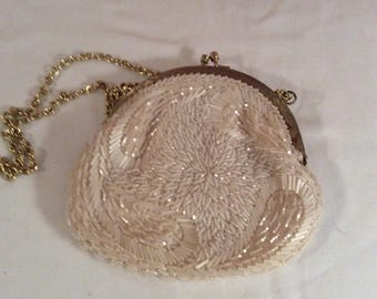 Merville Pearled and Satin Evening Bag