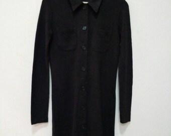 Sisley women strecth long shirt button dark brown colour Italy
