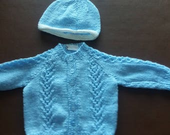 Pale blue cardigan and hat. White band on hat
