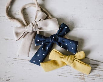 Baby Headband Set. Soft Baby Headbands. Cotton Bows Baby bows Soft baby headband Nylon headband Baby Bow Clips Toddler Accessories