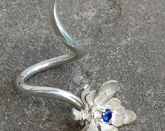 Silver Ring Water lily blue